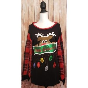 New Cato Plus Size Christmas Sweater Black 26/28